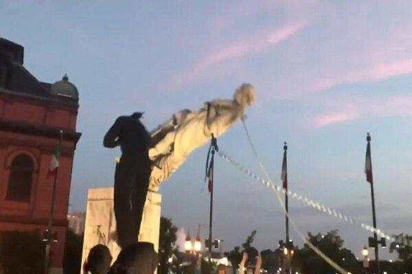 مجسمه کاشف آمریکا به زیر کشیده شد