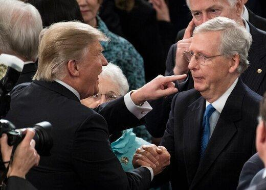 حمله لفظی ترامپ به رئیس اکثریت سنا، زود تسلیم شدی